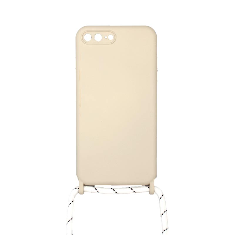 Θήκη Σιλικόνης με Λουράκι Λαιμού για iPhone 7 Plus / 8 Plus Μπεζ