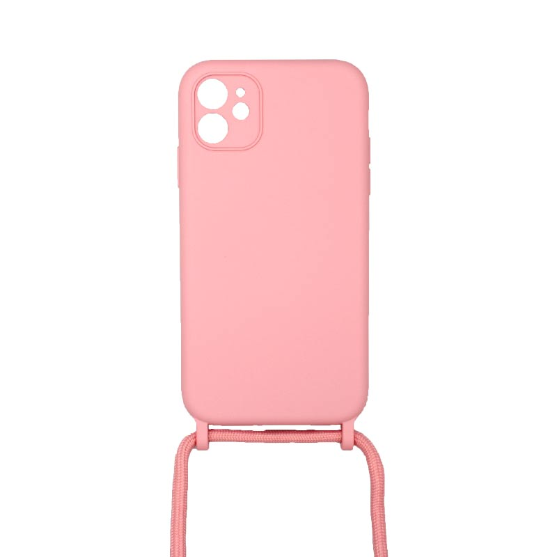 Θήκη Σιλικόνης με Λουράκι Λαιμού για iPhone 11 Pro Max Ροζ
