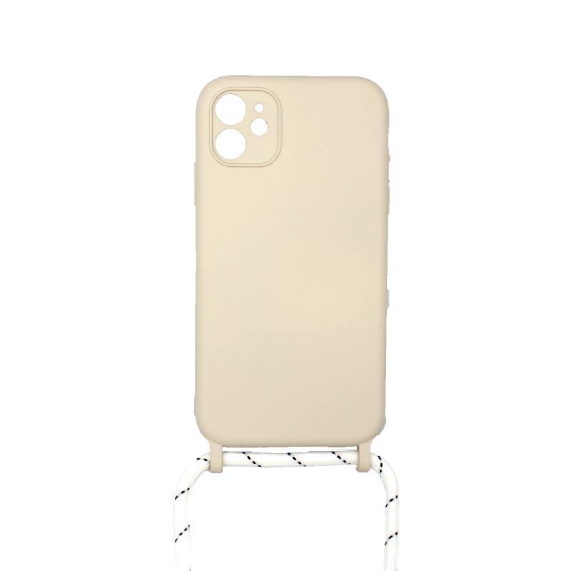 Θήκη Σιλικόνης με Λουράκι Λαιμού για iPhone 11 Pro Max Μπεζ