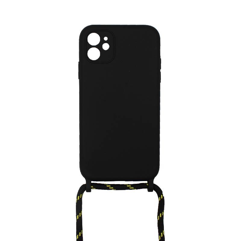 Θήκη Σιλικόνης με Λουράκι Λαιμού για iPhone 11 Μαύρο