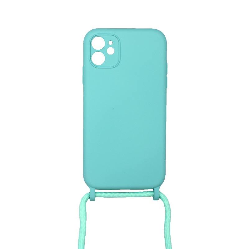 Θήκη Σιλικόνης με Λουράκι Λαιμού για iPhone 11 Pro Max Τιρκουάζ