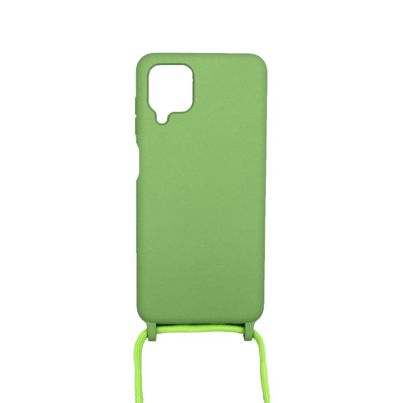 Θήκη Σιλικόνης με Λουράκι Λαιμού για Samsung Galaxy A12 Λαχανί