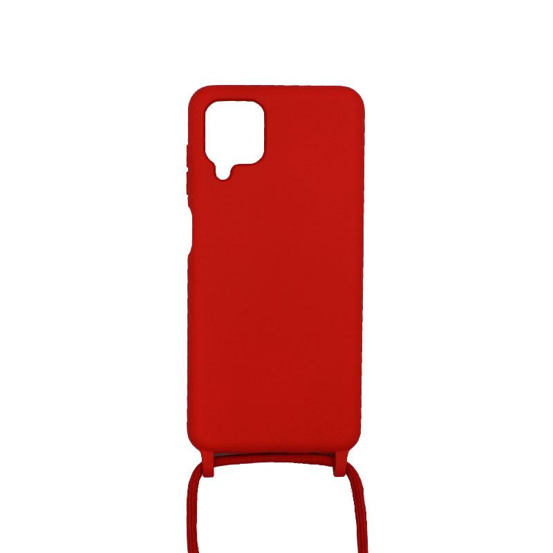 Θήκη Σιλικόνης με Λουράκι Λαιμού για Samsung Galaxy A12 Κόκκινο