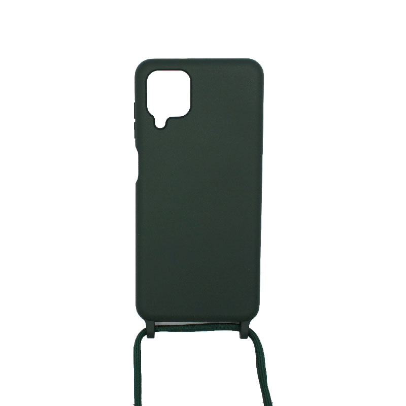 Θήκη Σιλικόνης με Λουράκι Λαιμού για Samsung Galaxy A12 Πράσινο