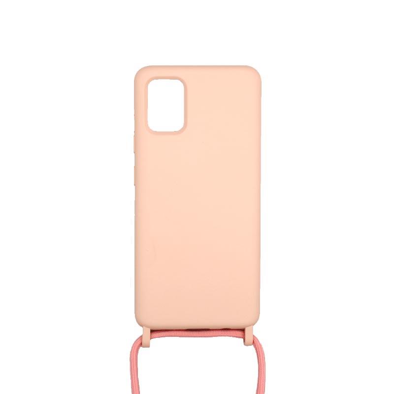 Θήκη Σιλικόνης με Λουράκι Λαιμού για Samsung Galaxy A71 Ροζ
