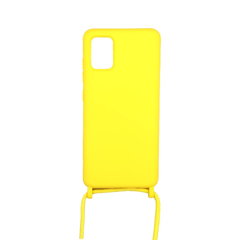 Θήκη Σιλικόνης με Λουράκι Λαιμού για Samsung Galaxy A71 Κίτρινο