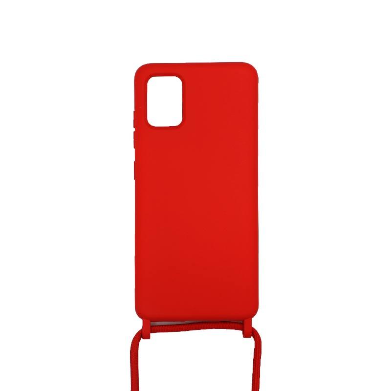 Θήκη Σιλικόνης με Λουράκι Λαιμού για Samsung Galaxy A51 Κόκκινο
