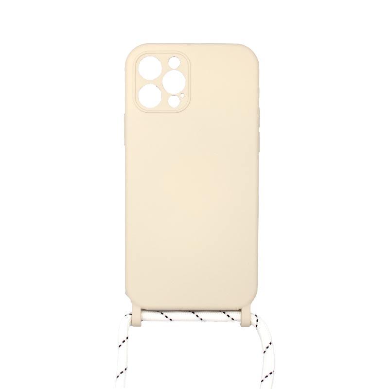 Θήκη Σιλικόνης με Λουράκι Λαιμού για iPhone 12 Pro Μπεζ