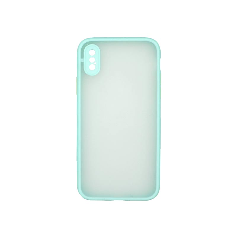 Θήκη iPhone X / Xs Σιλικόνης με Χρωματιστό Πλαίσιο Τιρκουάζ 1