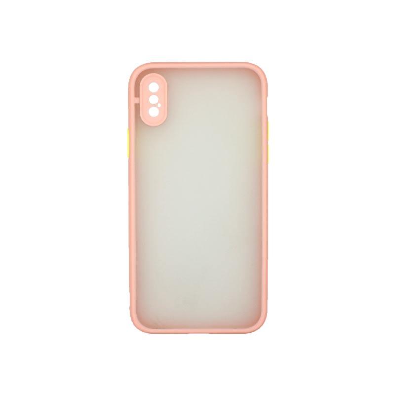 Θήκη iPhone X / Xs Σιλικόνης με Χρωματιστό Πλαίσιο Ροζ 1