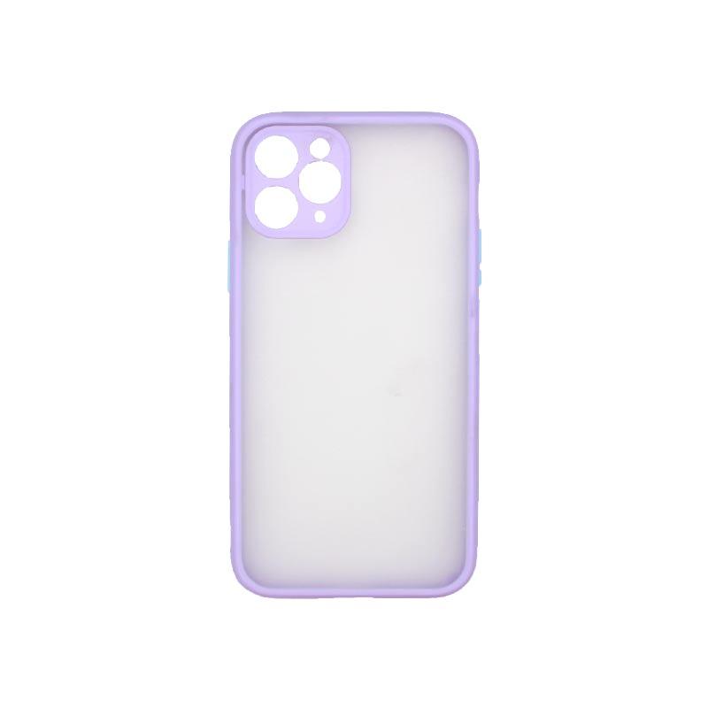 Θήκη iPhone 11 Pro Σιλικόνης με Χρωματιστό Πλαίσιο Μωβ