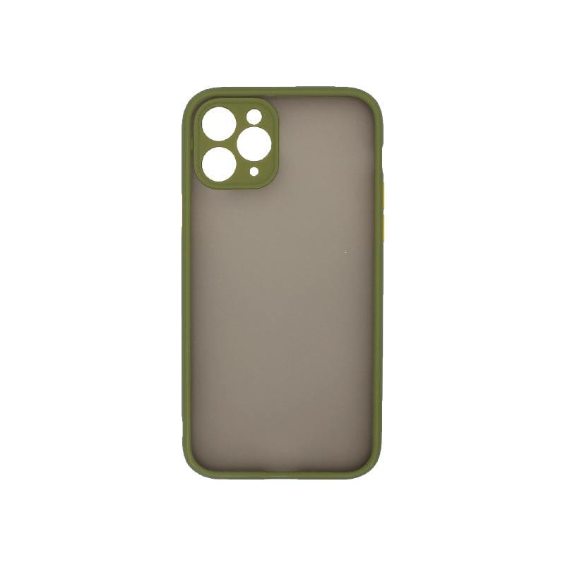 Θήκη iPhone 11 Pro Σιλικόνης με Χρωματιστό Πλαίσιο Λαδί