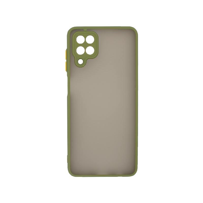 Θήκη Samsung Galaxy A12 Σιλικόνης με Χρωματιστό Πλαίσιο Λαδί