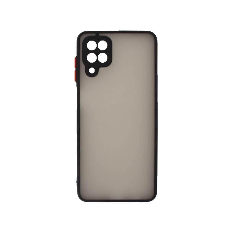 Θήκη Samsung Galaxy A12 Σιλικόνης με Χρωματιστό Πλαίσιο Μαύρο
