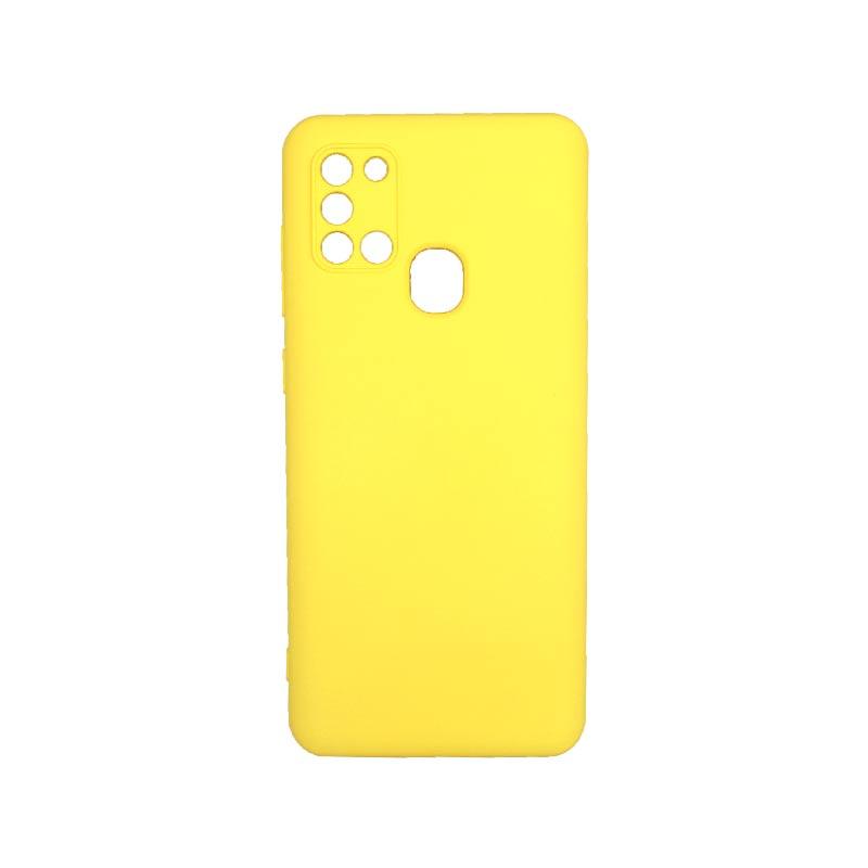 Θήκη Samsung Galaxy A21s Silky and Soft Touch Silicone Με Εσοχές Κίτρινο