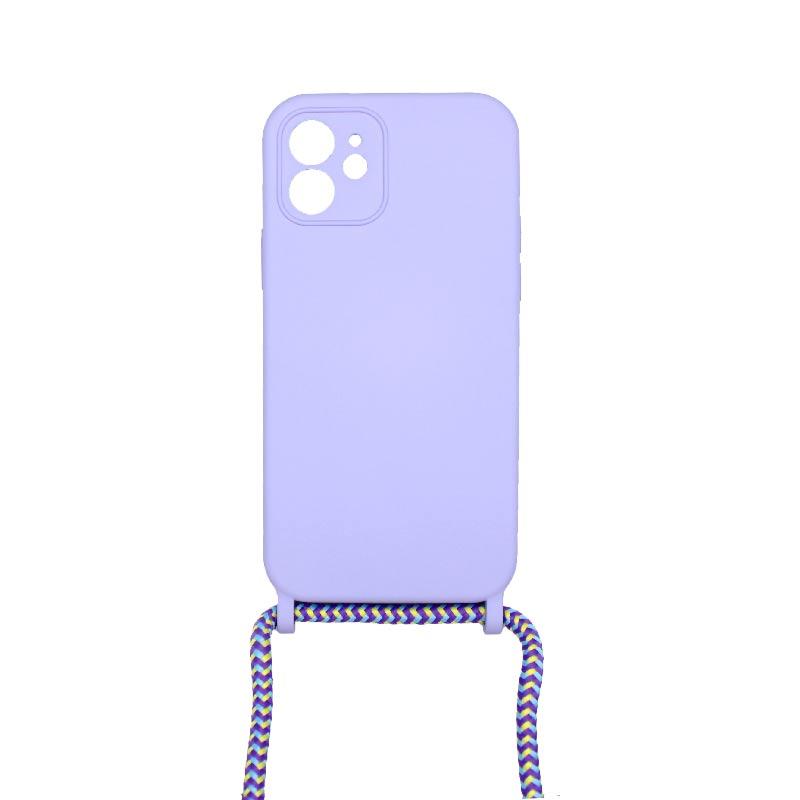 Θήκη Σιλικόνης με Λουράκι Λαιμού για iPhone 12 Με τρύπες Μωβ