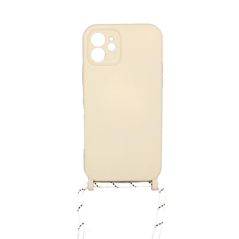Θήκη Σιλικόνης με Λουράκι Λαιμού για iPhone 12 Με τρύπες Μπεζ