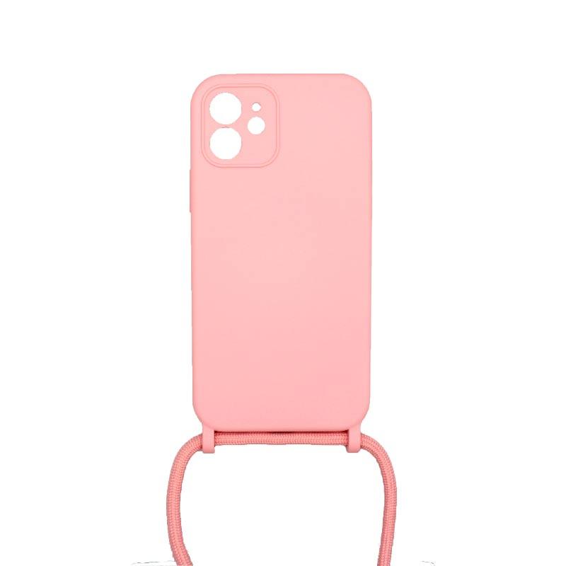 Θήκη Σιλικόνης με Λουράκι Λαιμού για iPhone 12 Με τρύπες Ροζ