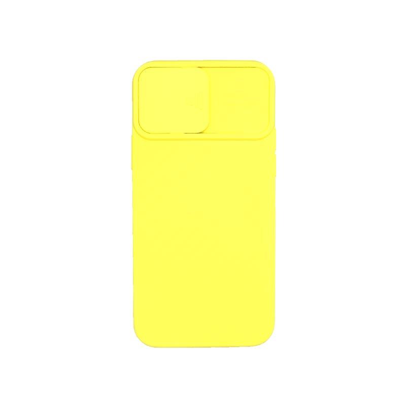 Θήκη iPhone 12 / 12 Pro Σιλικόνη με Camera Protector Κίτρινο 2